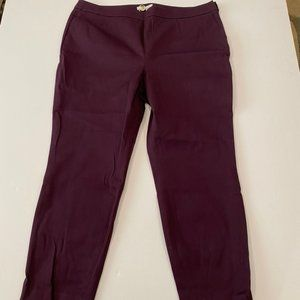 NWT Boden plum side zip pants Size 16